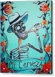 Mi Cerveza Acrylic Print by Heather Calderon