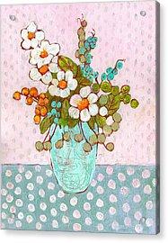 Mia Daisy Flowers Acrylic Print by Blenda Studio