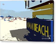 Miami Beach Work Number 1 Acrylic Print by David Lee Thompson