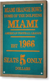 Miami Dolphins Sign Acrylic Print by Joe Hamilton