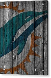 Miami Dolphins Wood Fence Acrylic Print by Joe Hamilton