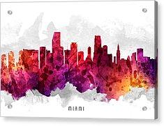Miami Florida Cityscape 14 Acrylic Print by Aged Pixel