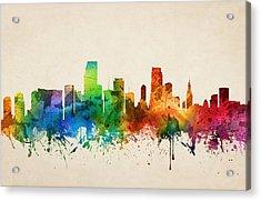 Miami Florida Skyline 05 Acrylic Print by Aged Pixel