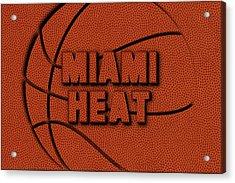 Miami Heat Leather Art Acrylic Print by Joe Hamilton