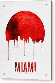 Miami Skyline Red Acrylic Print by Naxart Studio
