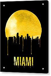 Miami Skyline Yellow Acrylic Print by Naxart Studio