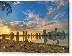 Miami Sunset Acrylic Print by William Wetmore