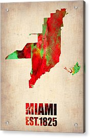 Miami Watercolor Map Acrylic Print by Naxart Studio