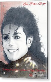 Michael Jackson Christmas Card 2015 - 'love, Peace, Unity' Acrylic Print by Eliza Lo