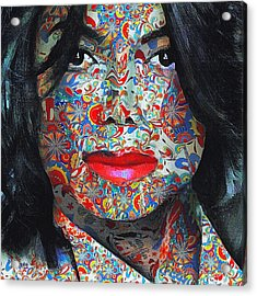 Michael Jackson Color Stamp Acrylic Print by Yury Malkov