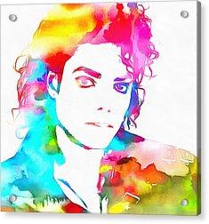 Michael Jackson Watercolor Acrylic Print by Dan Sproul