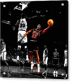 Michael Jordan Left Hand Acrylic Print by Brian Reaves