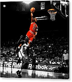 Michael Jordan Suspended In Air Acrylic Print by Brian Reaves
