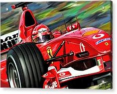 Michael Schumacher Ferrari Acrylic Print by David Kyte