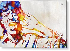 Mick Jagger Abstract Acrylic Print by Dan Sproul