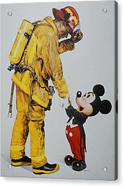 Mickey And The Bravest Acrylic Print by Rob Hans