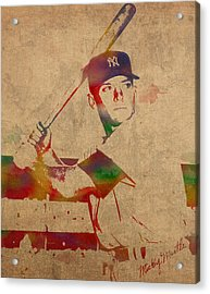 Mickey Mantle New York Yankees Baseball Player Watercolor Portrait On Distressed Worn Canvas Acrylic Print by Design Turnpike