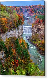 Middle Falls Of Letchworth State Park Acrylic Print by Mark Papke