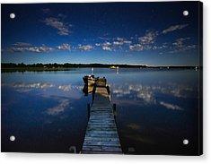 Midnight At Shady Shore On Moose Lake Minnesota Acrylic Print by Alex Blondeau