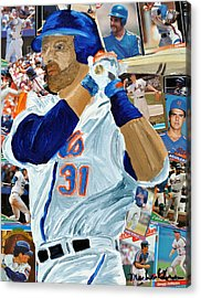 Mike Piazza Acrylic Print by Michael Lee