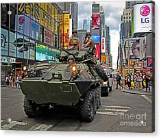 Military Tank In Times Square Acrylic Print by Nishanth Gopinathan