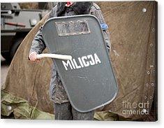 Militia Grey Shield At 32nd Anniversary Acrylic Print by Arletta Cwalina