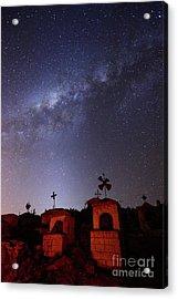 Milky Way Above Milluni Cemetery Bolivia Acrylic Print by James Brunker
