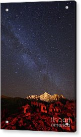 Milky Way Above Mt Huayna Potosi And Milluni Cemetery Bolivia Acrylic Print by James Brunker