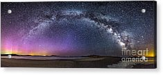 Milky Way Panorama With Northern Lights At Popham Beach Acrylic Print by Benjamin Williamson