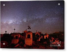 Milky Way Setting Over Milluni Cemetery Bolivia Acrylic Print by James Brunker
