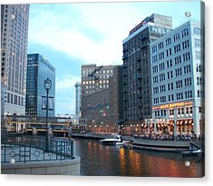 Milwaukee River Walk Acrylic Print by Anita Burgermeister