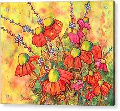 Mimosa Sky Flowers Acrylic Print by Blenda Studio