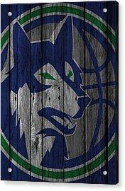 Minnesota Timberwolves Wood Fence Acrylic Print by Joe Hamilton
