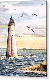 Minot Lighthouse Or The I Love You Lighthouse Acrylic Print by Martha Ayotte