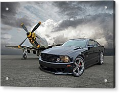 Mission Accomplished - P51 With Saleen Mustang Acrylic Print by Gill Billington