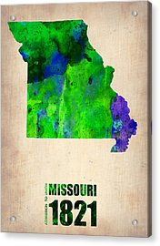 Missouri Watercolor Map Acrylic Print by Naxart Studio