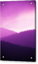 Misty Morning Mountains - Magenta Acrylic Print by Paul W Sharpe Aka Wizard of Wonders