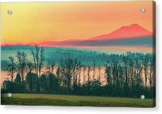 Misty Mountain Sunrise Part 2 Acrylic Print by Alan Brown