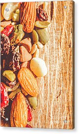 Mixed Nuts On Wooden Background Acrylic Print by Jorgo Photography - Wall Art Gallery
