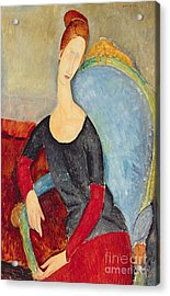Mme Hebuterne In A Blue Chair Acrylic Print by Amedeo Modigliani