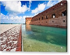 Moat And Walls Of Fort Jefferson Acrylic Print by George Oze