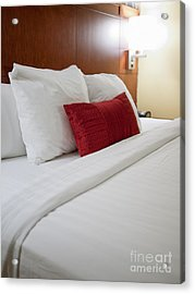 Modern Hotel Room Bed Acrylic Print by Paul Velgos