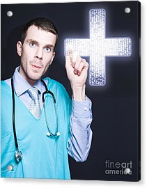 Modern Male Doctor Pressing Digital Cross Button Acrylic Print by Jorgo Photography - Wall Art Gallery