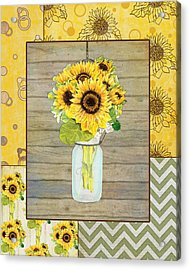 Modern Rustic Country Sunflowers In Mason Jar Acrylic Print by Audrey Jeanne Roberts