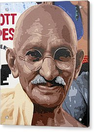 Mohandas Gandhi Acrylic Print by Roberto Valdes Sanchez