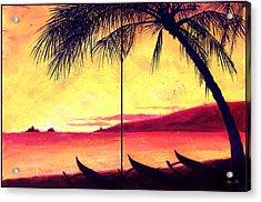Mokulua Sundown Acrylic Print by Angela Treat Lyon