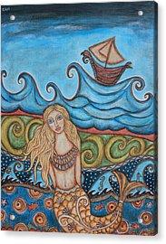 Monique Mermaid Acrylic Print by Rain Ririn