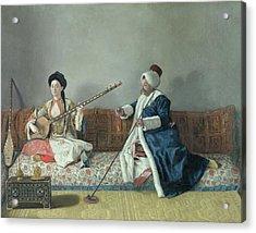 Monsieur Levett And Mademoiselle Helene Glavany In Turkish Costumes Acrylic Print by Jean Etienne Liotard