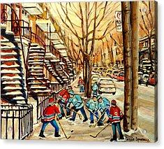 Montreal Street Hockey Paintings Acrylic Print by Carole Spandau