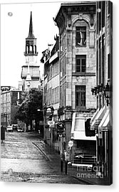 Montreal Street In Black And White Acrylic Print by John Rizzuto